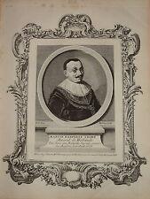 RARE Gravure XVIII AMIRAL MARTEEN TROMP MARINE HOLLANDE LOUIS XIV BAROQUE 1750