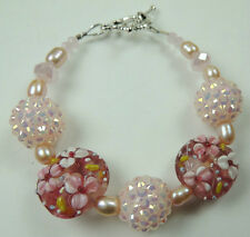 Pink & White Flower Lampwork Bracelet & Pink Pearls & Pink Glittering Balls