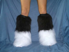 BLACK/WHITE FLUFFIES FLUFFY LEGWARMERS BOOT COVERS RAVE