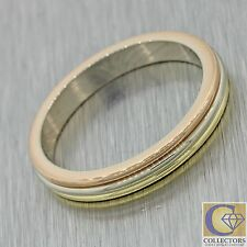 1988 CARTIER Vintage Estate 18k Solid Yellow White Rose Tri Color Gold Band Ring