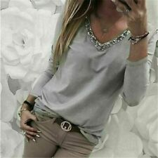 T-Shirt Jumper V Neck Pullover Tops Long Sleeve Casual Womens Loose Solid