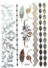 Metallic Tattoo, Flash Tattoo, Fake Tattoo, einmal Gold / Silber Tatoos UJ-6
