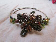 Brown & Green Glass Bead Flower Choker
