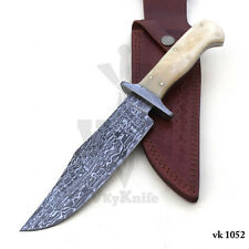 Handmade Damascus Steel Hunting Bowie Knife white Bone Handle  vk1052
