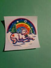 vintage 80's Lisa Frank xmas unicorn sticker *restored*(free ship $20 min)