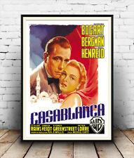 Casablanca :  Vintage Italian Movie advert  ,  Poster reproduction.