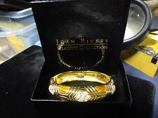 Joan Rivers Dazzling Glamour Crystal & Amber Enamel Hinged Oval Bangle Bracelet