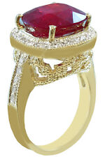10K YELLOW GOLD CUSHION RUBY AND ROUND CUT DIAMOND ANTIQUE DESIGN RING 5.80CTW