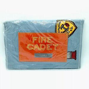 The Land of Nod Crib Skirt Fire Cadet Fireman Firefighter Blue Gray Crate & Kids