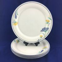 "LENOX Chinastone BUTTERCUPS ON BLUE Yellow Blue Floral 10.75"" Dinner Plate Set 4"