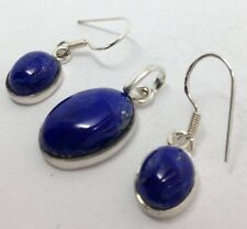 Lapis Lazuli oval Drop Earrings pendant Set, solid Sterling Silver, Actual One.