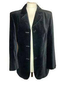 Vera Mont Ladies Black Cotton Velvet  Jacket Size 10 ( K2)