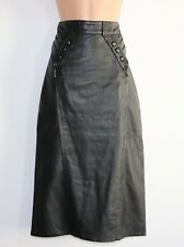 Women's Vintage High Waist Straight Pencil Wiggle Black 100% Leather Skirt UK6