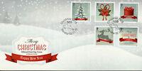 Gibraltar 2015 FDC Christmas Trees Deer Presents 5v Set Cover Stamps