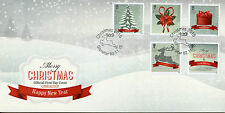 Gibraltar 2015 FDC Christmas Trees Deer Presents 5v Set Cover Stamps