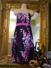 Monsoon beautiful silk blend purple floral strapless party dress size 14 wedding