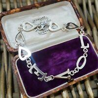 """Designer Sterling Silver Bracelet, LOVE Bracelet,  LJ 925, 7.2"""", Love Message"""