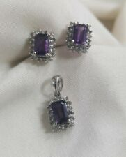 14k white gold Emerald Cut Amethyst & diamond necklace earring pendant
