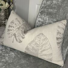 """Cushion Cover 12"""" X 20"""" Designer iLiv Fabric """"Laurie"""" Linen Natural Grey"""