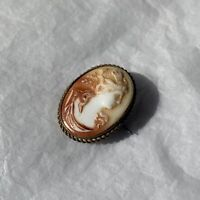 Antique Cameo Brooch 1890s Pressed Glass Portrait Oval Victorian Jewellery
