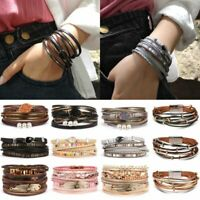 Punk Women Multi-layer Leather Cuff Magnetic Clasp Bracelet Bangle Wristband Hot