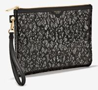 Victorias Secret Black Lace Design Zippered Cosmetic Makeup Bag Clutch Pouch NWT