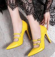 Womens Slip On Pump High Heels Patent Leather Pointy Toe Buckles Mary Jane Shoes