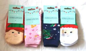Girls Boys Christmas Slipper Socks Uk Size  6-8.5  9-12 12.5 - 3.5  NEW
