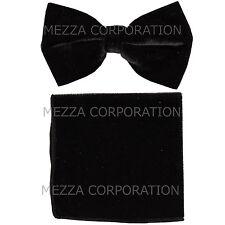 New in box Vesuvio Napoli men's pre tied Bow tie & Pocket Square Velvet Black