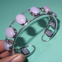 "925 Sterling Silver Overlay Rose Quartz Stone Bangle Cuff Bracelet 2.75"" Inch"