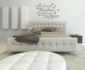 When it rains look for the rainbows home decor bedroom lounge wall art sticker