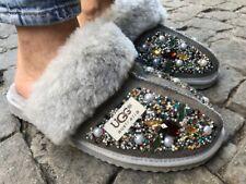 UGG Womens Flat Sandals Flatforms Faux Fur Holiday Slides Comfy Fluffy Size 5-10