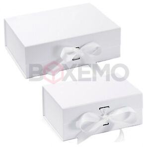 White Gift Box With Ribbon - Two Sizes - Magnetic Gift Box - Large Gift Box