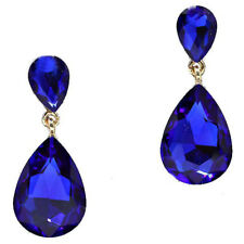 Royal Blue Earrings Sparkly Teardrop Gold Tone Dangly Drop Bridal Prom 0211