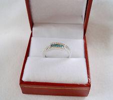 KREMENTZ-  .38 Ct. Fancy Enhanced Blue & White Diamond  14k White Gold Ring