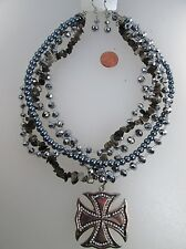 Iron Cross Necklace Earrings Silver Brown Rhinestones Beads Pearls Biker Pendant
