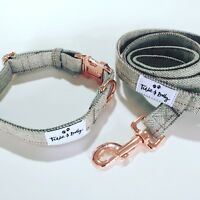 Tweed Dog Collar with Rose Gold (Matching Lead Available)