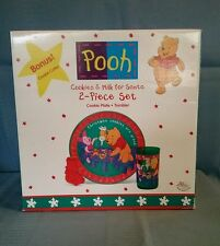 Pooh Cookies & Milk for Santa 2 pc Set Plate & Tumbler + Cookie Cutter & Recipe