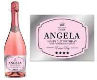 PERSONALISED PINK CHAMPAGNE PROSECCO BOTTLE LABEL BIRTHDAY ANY OCCASION DETAILS