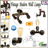 Wall Pipe Industrial Lamp Retro Light Steampunk Vintage Iron Wall Sconce + Bulb