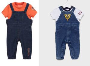 Guess Baby Boys Denim Cotton Jersey 2pc T shirt Dungaree Set Jumpsuit Playsuit