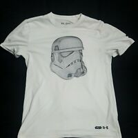 READ Youth XL Star Wars Under Armour White Shirt Storm Trooper