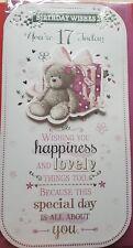Cute teddy bear glitter present Happy Birthday age 17th card with Verse