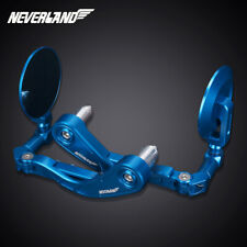 "7/8"" Universal Motorcycle Motorbike Handle Bar End Rearview Side Mirror Blue"