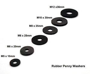Rubber Penny Washers M5x 15mm M6x 20mm M6x 25mm M8x 25mm M10x 30mm or M12x 36mm