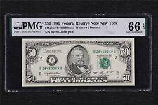 1993 Federal Reserve Note New York 50 Dollars Fr#2125-B PMG 66EPQ Gem UNC
