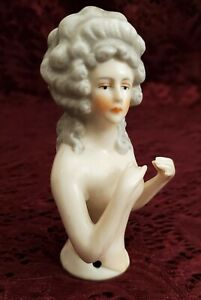 Antique Unmarked Porcelain Half Doll/Pin Cushion Lady W/ Gray Hair Pretty
