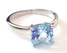 blue topaz Gemstone Cushion solitaire ring, Solid Sterling Silver uk size Q, new