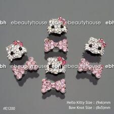 10 Pcs 3D Nail Art Deco Hello Kitty & Bow Knot Alloy Glitter Rhinestone #E1200