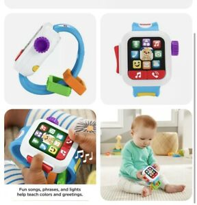 Fisher-Price Laugh & Learn Time to Learn Smart Watch, Musical Baby Toy Inc Batt